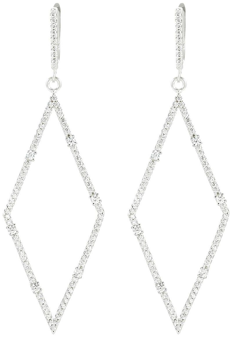 925 Silver Diagonal Frame CZ Earrings ER60