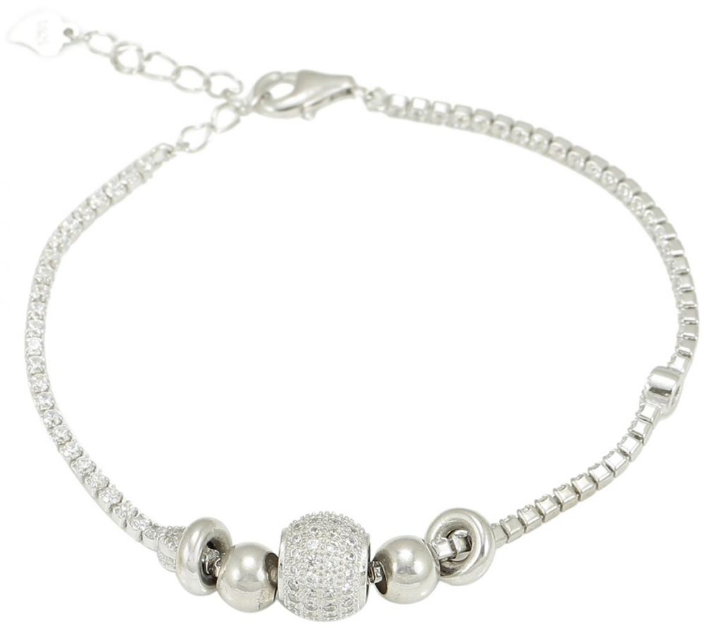 925 Silver Tennis with Disco Ball Bracelet BR0075