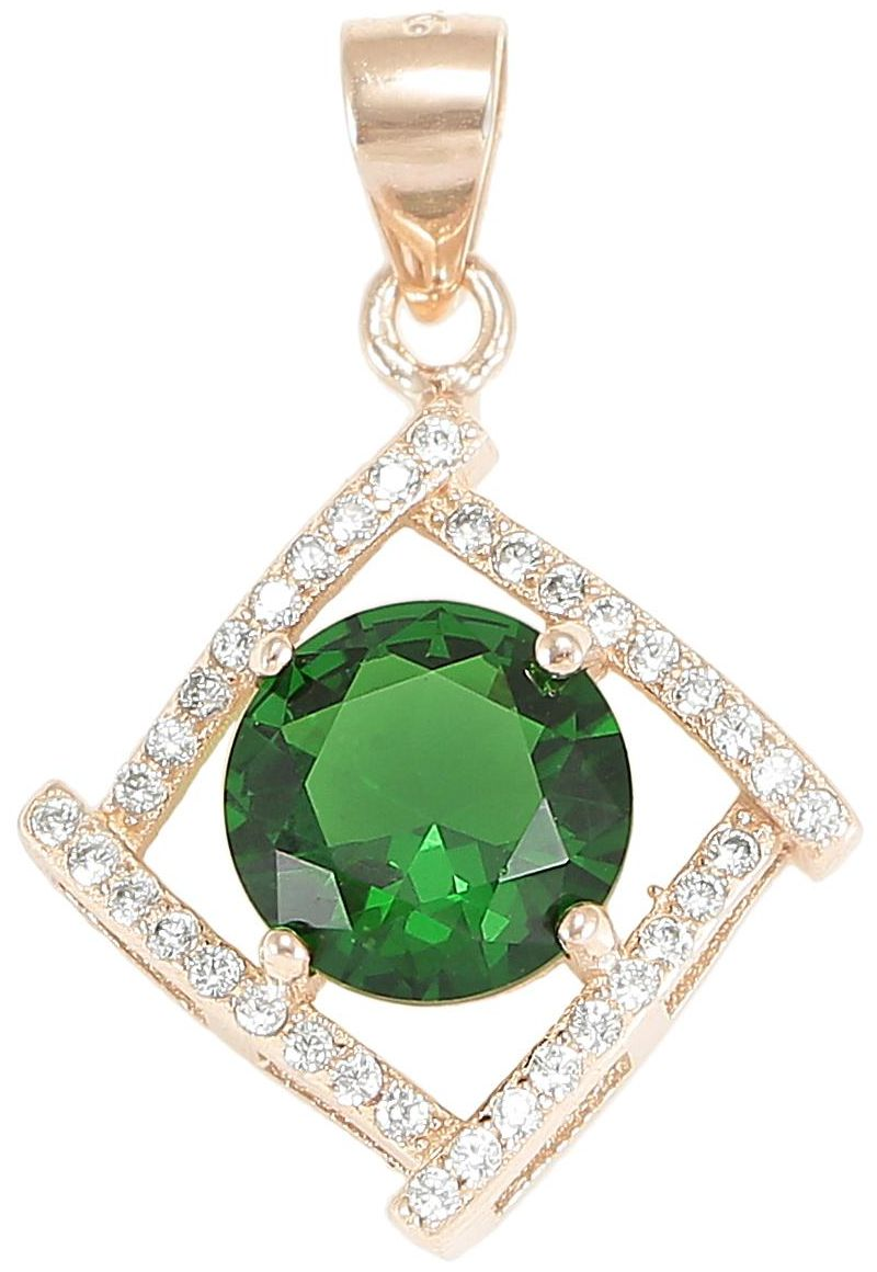 925 Silver Diagonal Framed CZ Green Crystal Pendant PD44