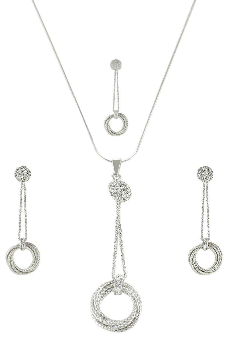 AK Jewels Silver Knot Italian Jewelry Set JWSET0028
