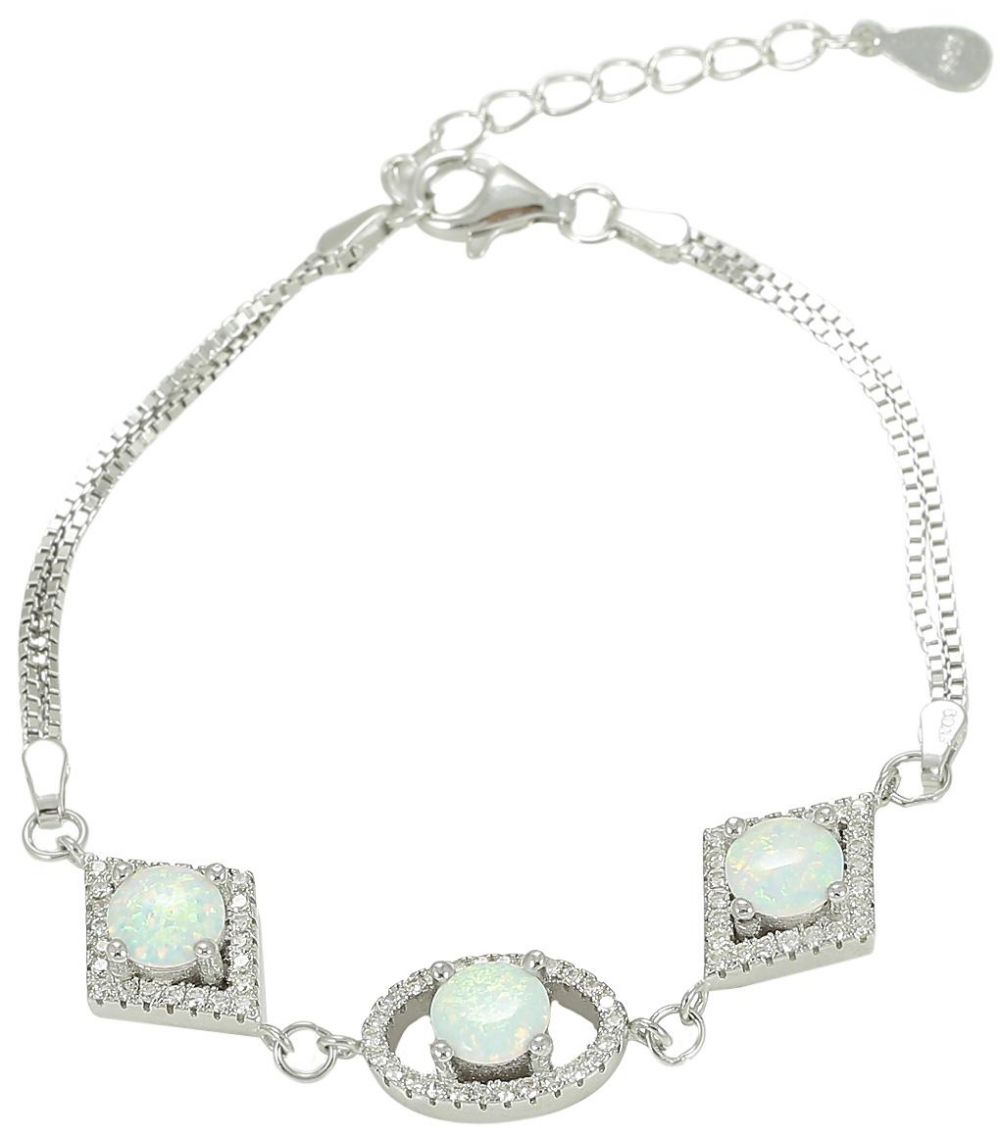 925 Silver Diagonal Oval Frame with White Opal Bracelet BR0049