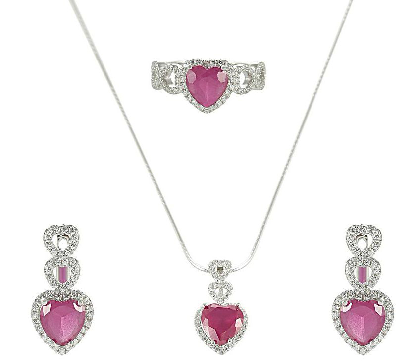 AK Jewels Silver Red Heart Jewelry Set JWSET0026