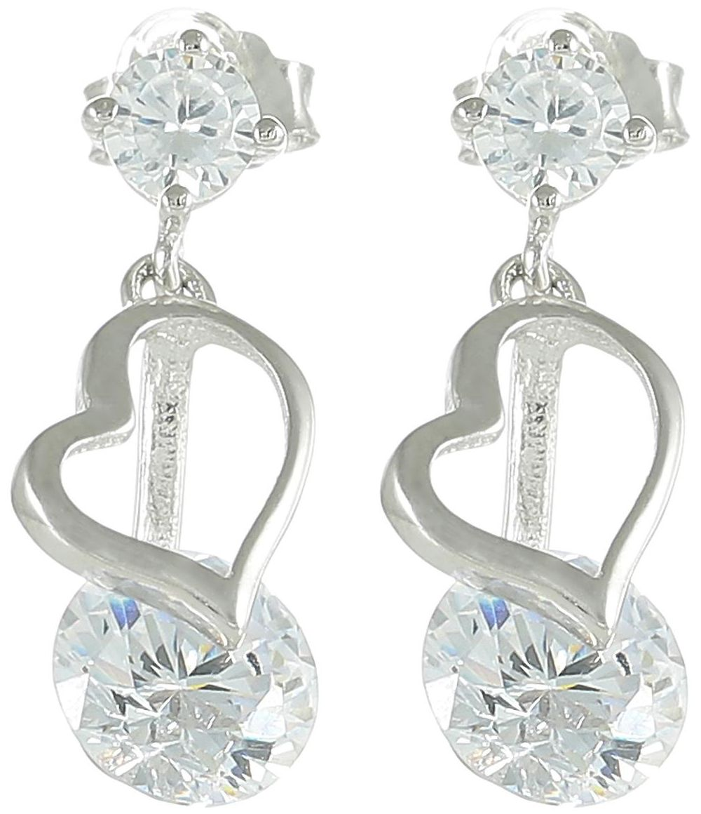 925 Silver Heart Charm Crystal Earrings ER46