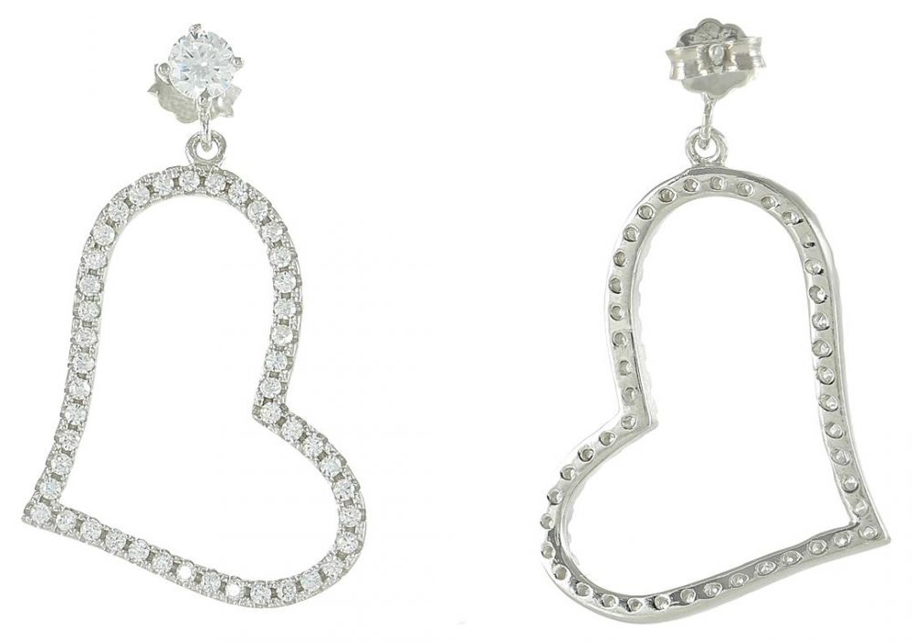 925 Silver Heart CZ Dangling Earrings ER43