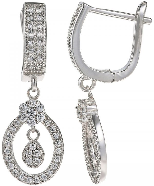925 Silver Oval Framed with Drop Charm Jewelry Set JWSET0020