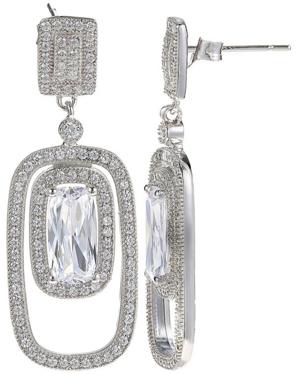 925 Silver Oval Framed with Crystal Charm Jewelry Set JWSET0021