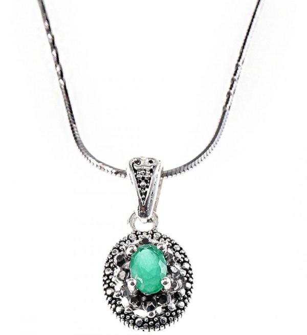 925 Silver Oval Green Marcasite Jewelry Set JWSET0010