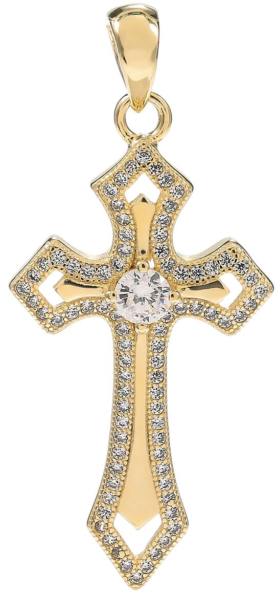925 Silver Gold Plated CZ Cross Pendant PD35