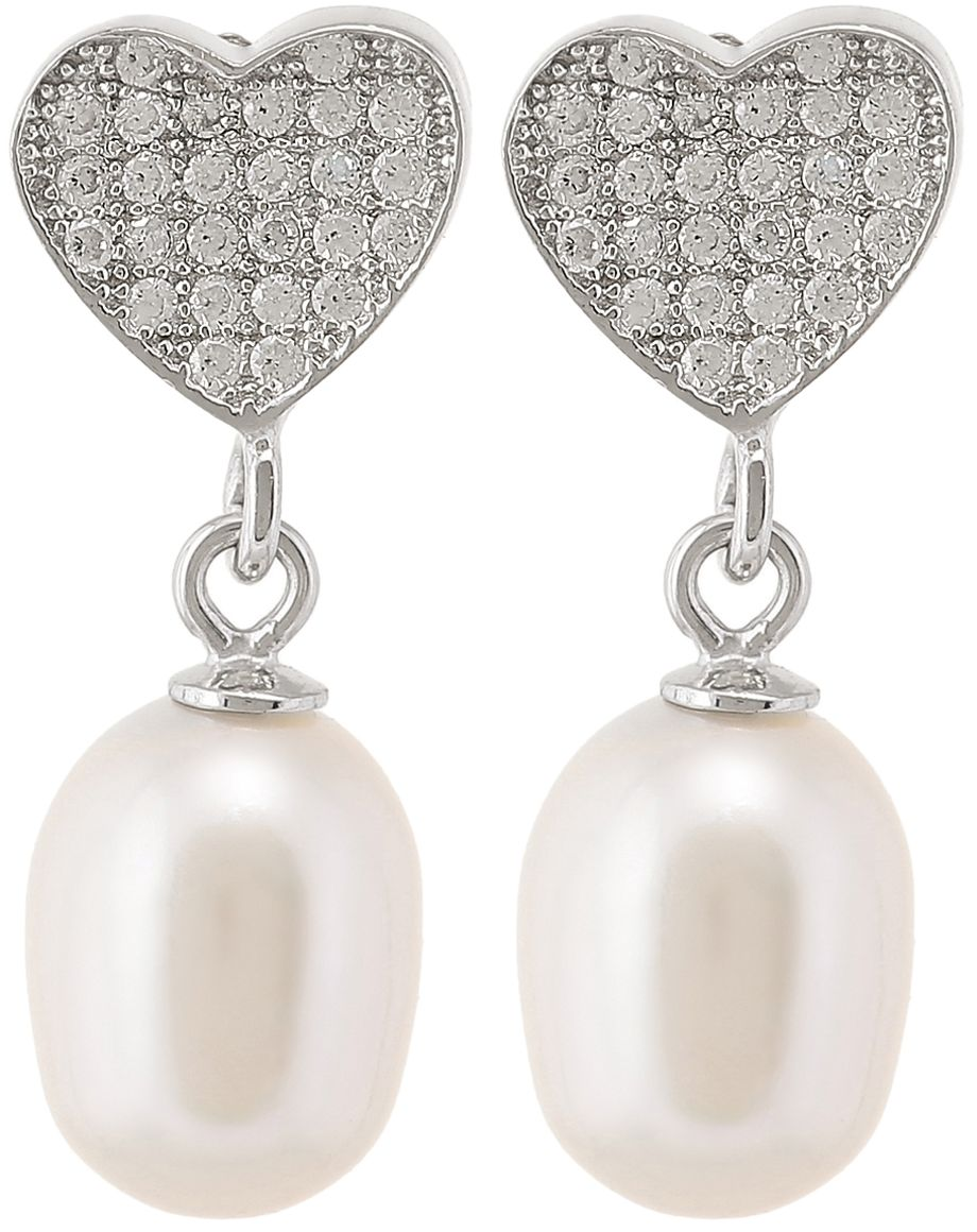 925 Silver Heart with Oval Pearl Dangling Earrings ER34