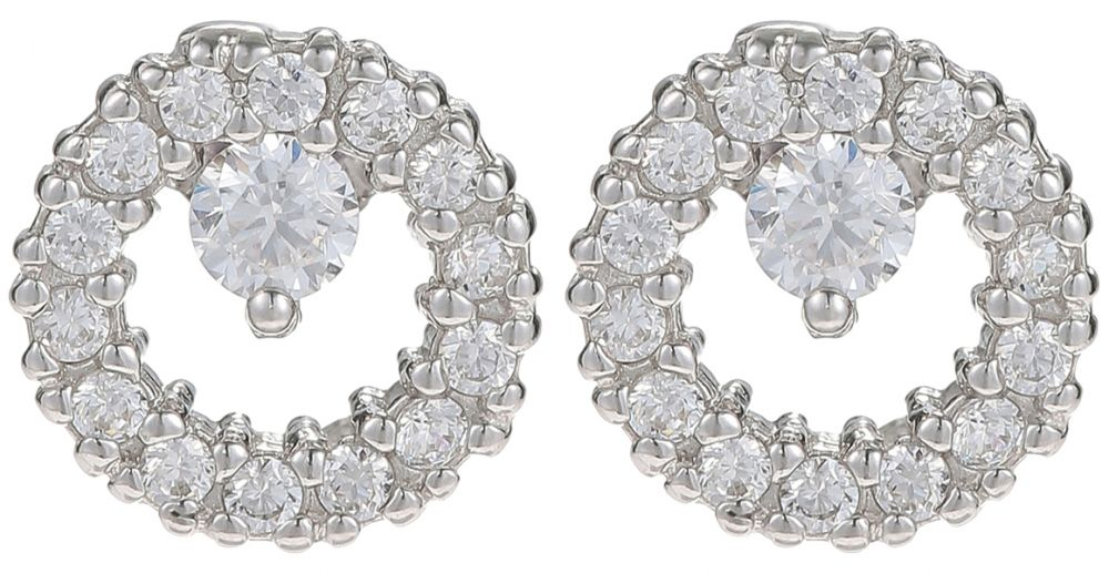 925 Silver Round Framed CZ Earrings ER24