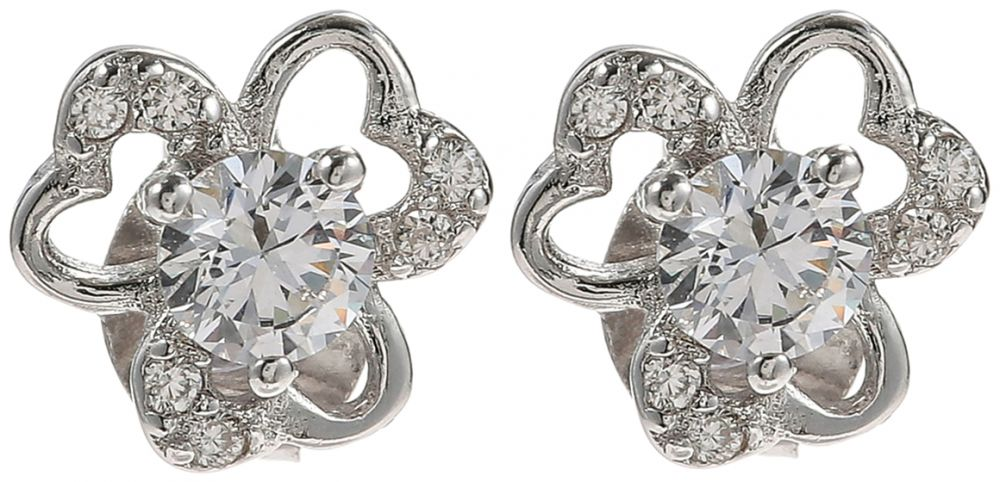925 Silver Heart Flower Crystal Earrings ER31