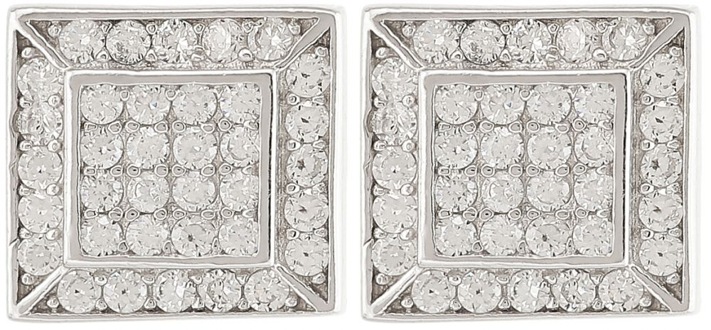 925 Silver Square with CZ Earrings ER17