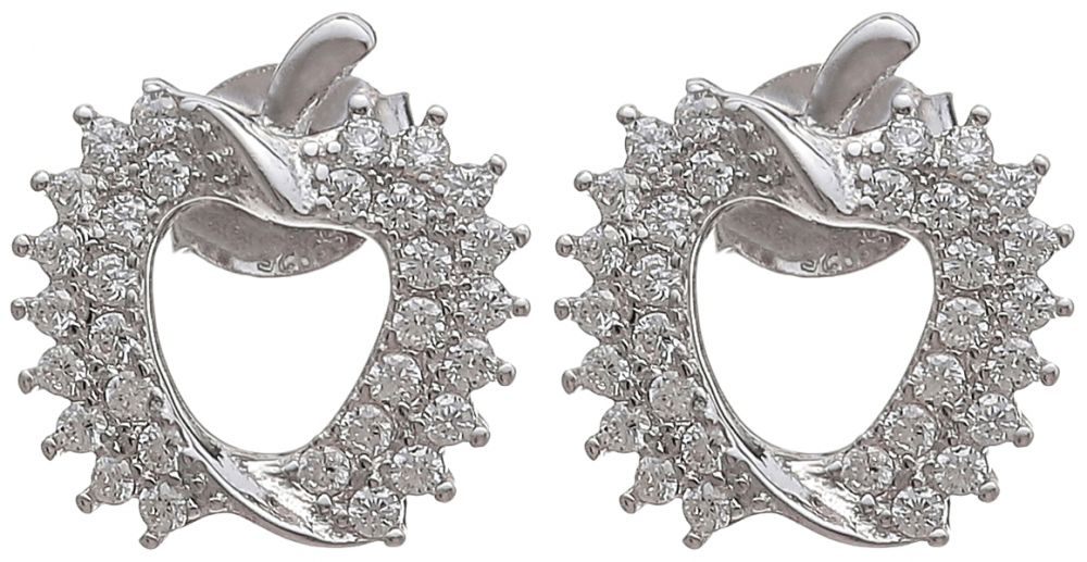 925 Silver Apple Frame Stud Earrings ER55