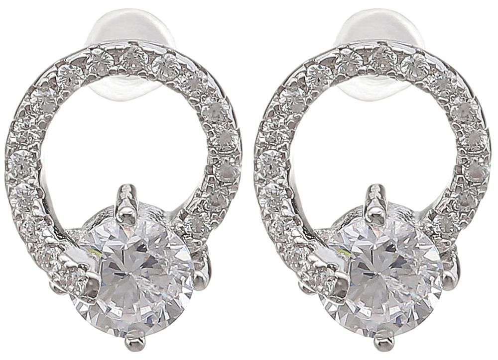 925 Silver CZ Drop Earrings ER36
