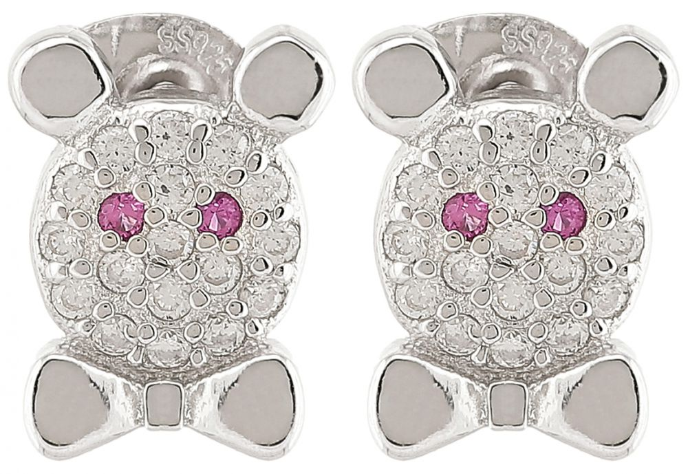 925 Silver Bear Face Stud Earrings ER38