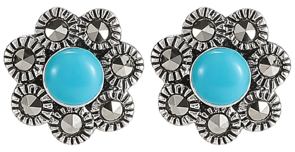 925 Silver Flower Turquoise Marcasite Earrings ER35