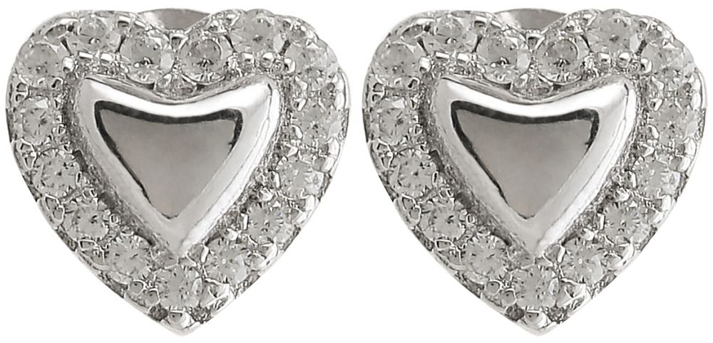 925 Silver Heart Frame Stud Earrings ER47