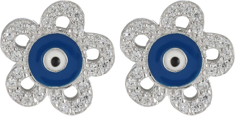 925 Silver Flower Evil Eye Earrings ER05