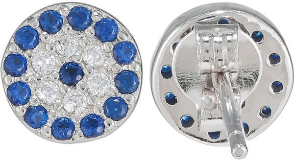 925 Silver Blue Round Pave Stud Earrings ER04