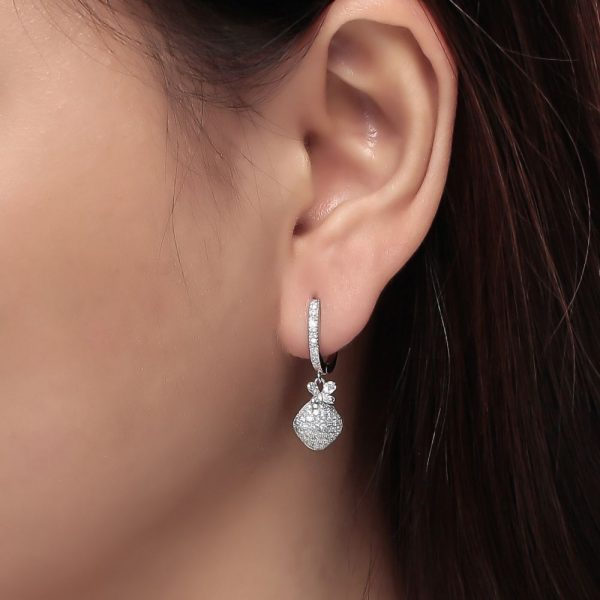 925 Silver Diagonal with Butterfly Dangling Earrings ER02