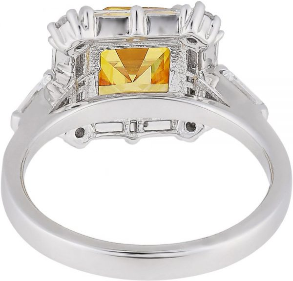 925 Silver Square Color Stone Framed Baguette Ring RG058