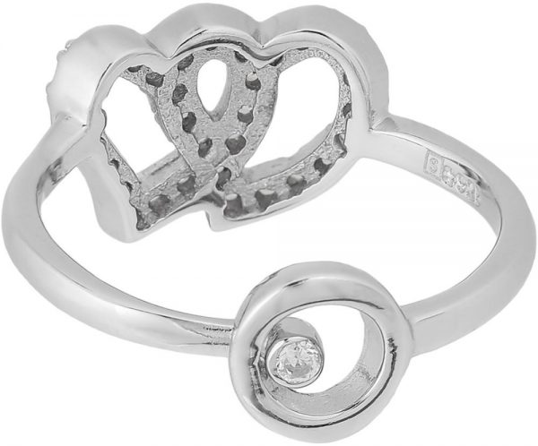 925 Silver Twin Heart with Crystal Ring RG087