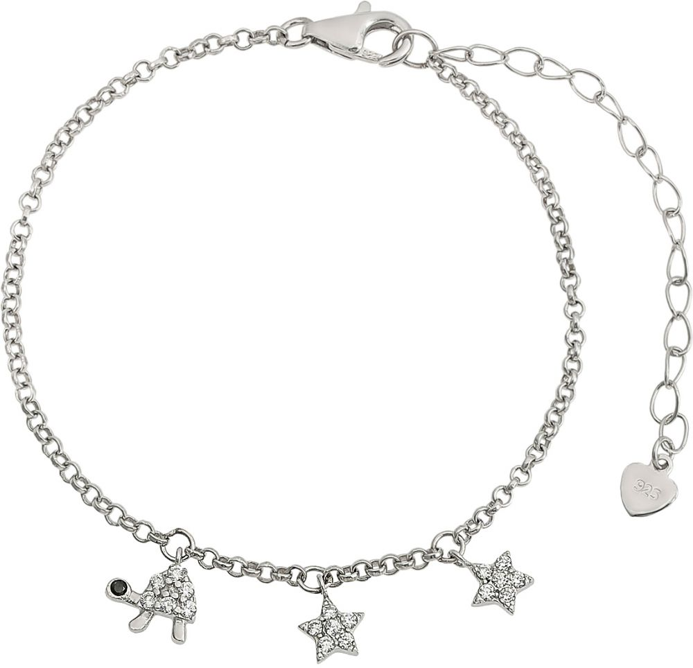925 Silver Turtle and Star Charm Bracelet BR0008