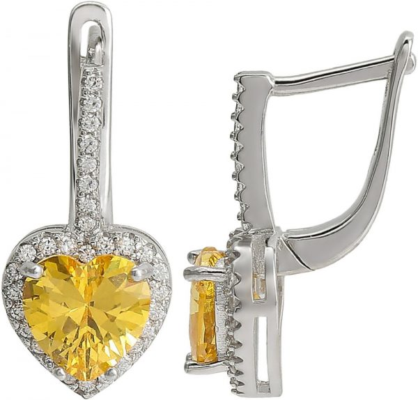 925 Silver Citrine Heart Jewelry Set JWSET0006