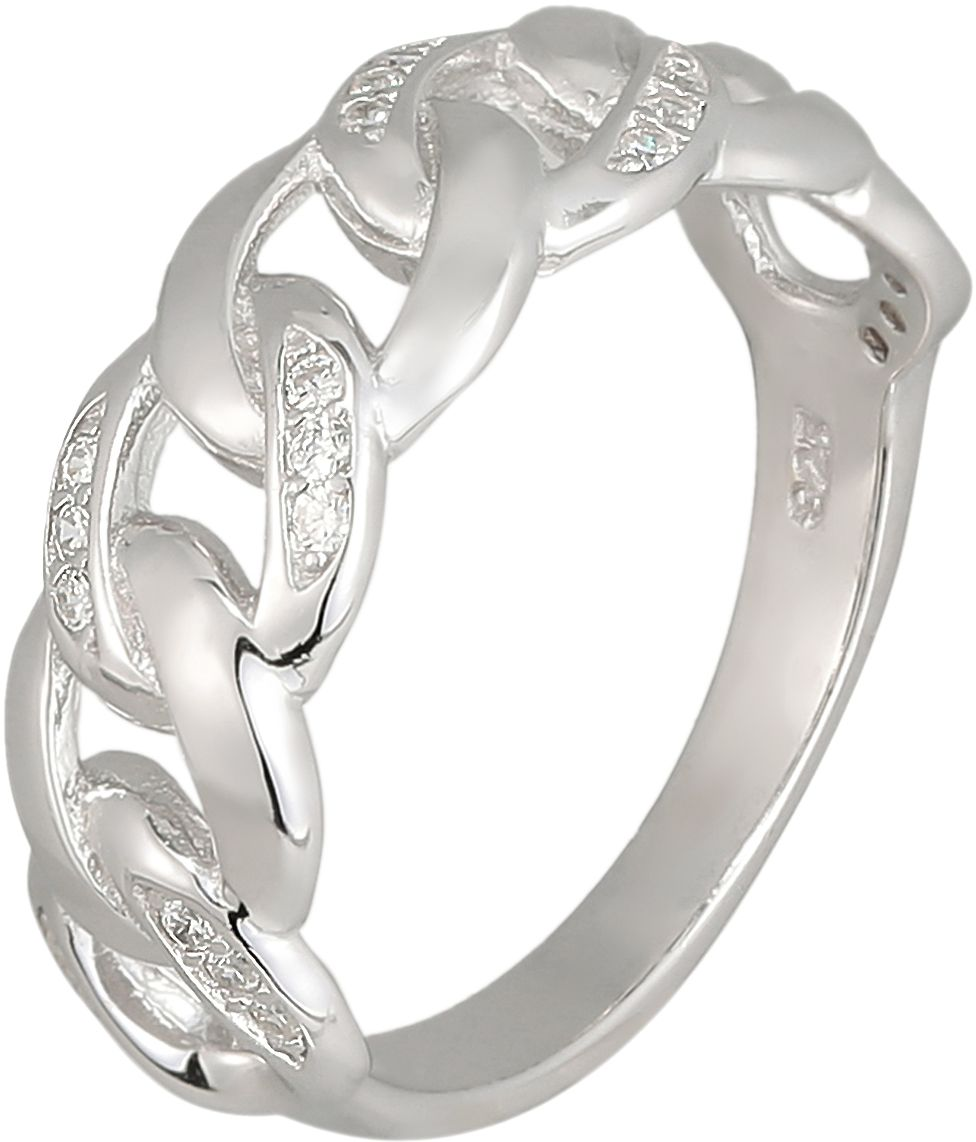 925 Silver Link with CZ Ladies Ring RG038