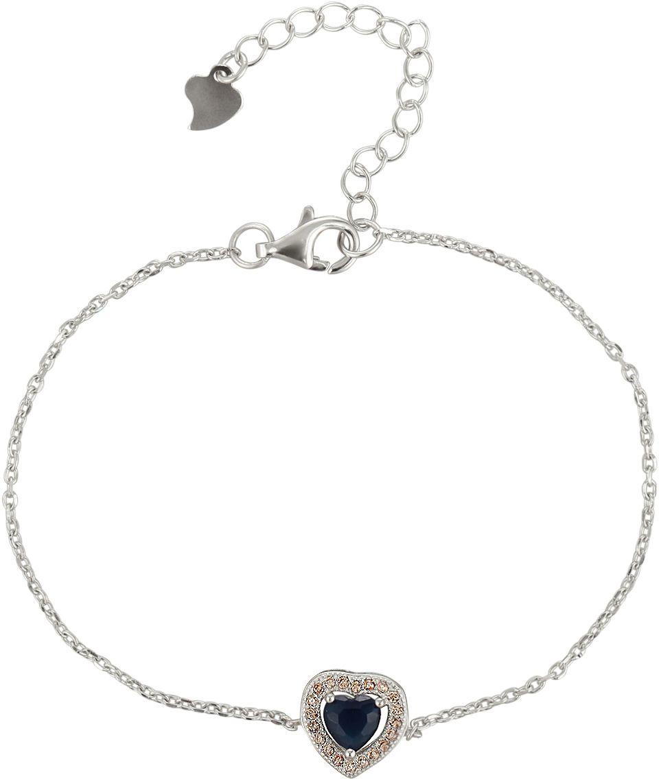 925 Silver Blue Heart Ladies Bracelet BR0066