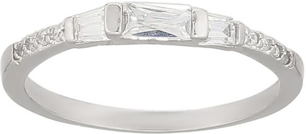 925 Silver Baguette Ladies Double Ring RG013