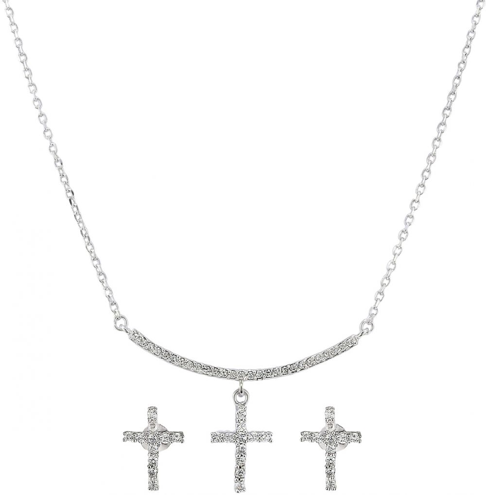 925 Silver Cross Jewelry Set JWSET0002