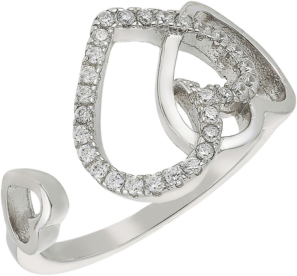 925 Silver Twin Hearts Cuff Ring RG054