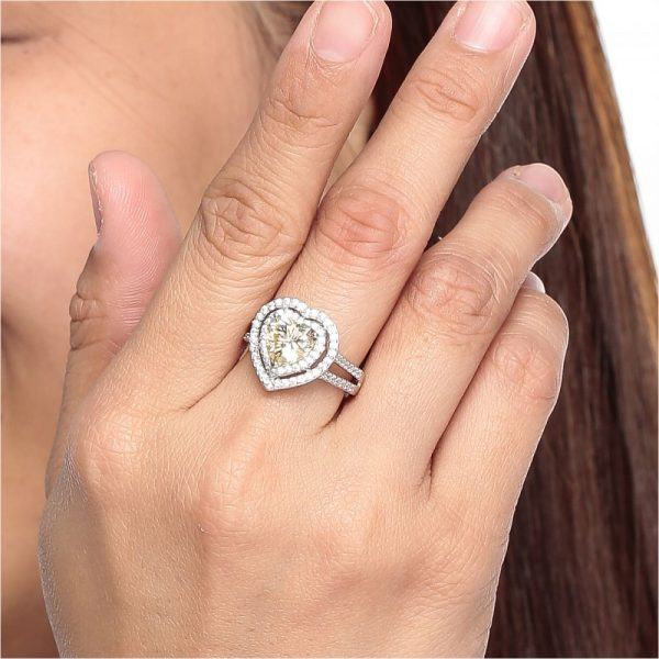 925 Silver Double Frame Heart Ladies Ring RG005