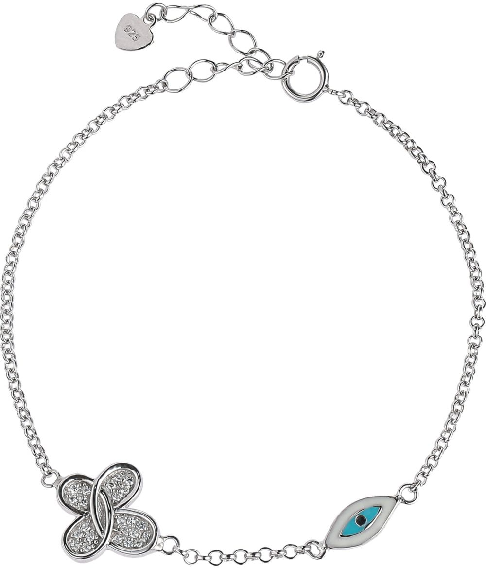 925 Silver Butterfly with Evil Eye Chain Bracelet BR0077