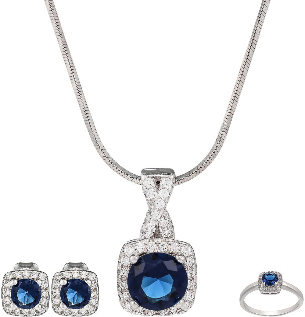 AK Jewels Silver Square Shape Jewelry Set JWSET0049
