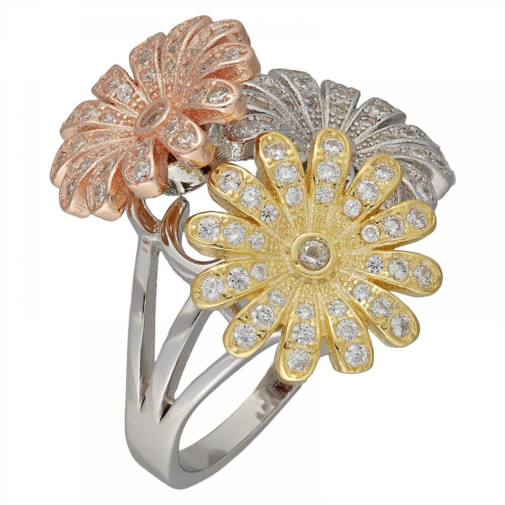925 Silver Tricolor Daisy Flower Ring LRG1023