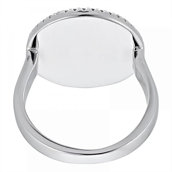 925 Silver Round Frame MOP with Heart Ring LRG1029
