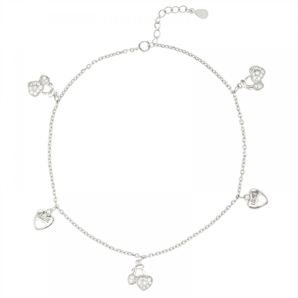 925 Silver Heart Cherry Charm Anklet ANK003