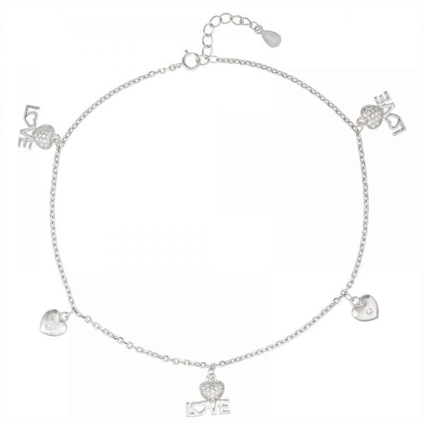 925 Heart Love Charm Anklet ANK004