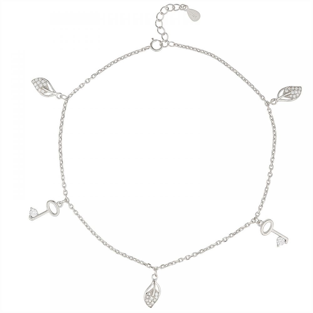 925 Silver Leaf and Key Charm Anklet ANK011