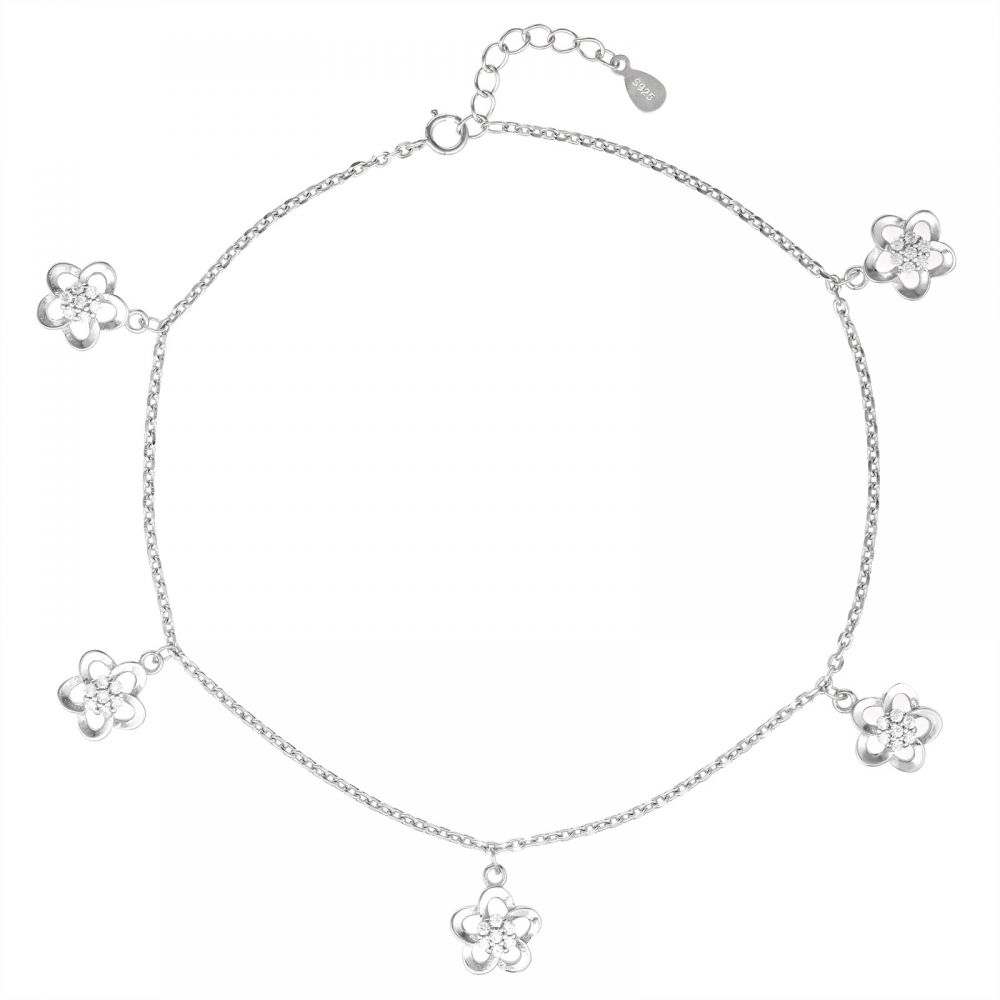 925 Silver Flower Charm Anklet ANK013