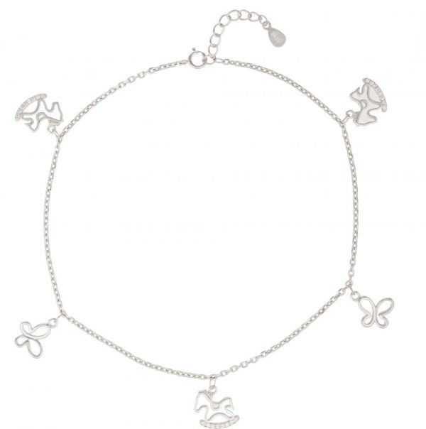 925 Silver Pony and Butterfly Charm Anklet ANK015