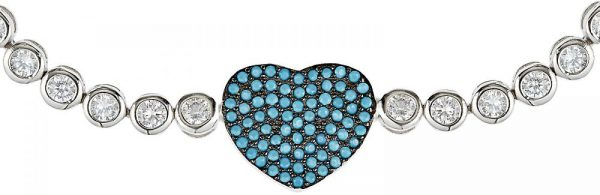 925 Silver Heart Shape Turquoise Adjustable Bracelet BR1023