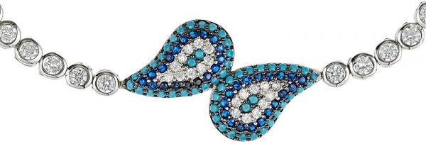 925 Silver Drop Wrap Turquoise and CZ Adjustable Bracelet BR1024