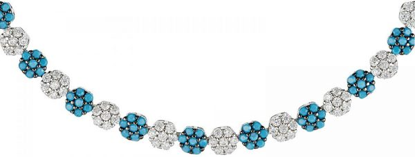 925 Silver Flower Shape Turquoise and CZ Adjustable Bracelet BR1025