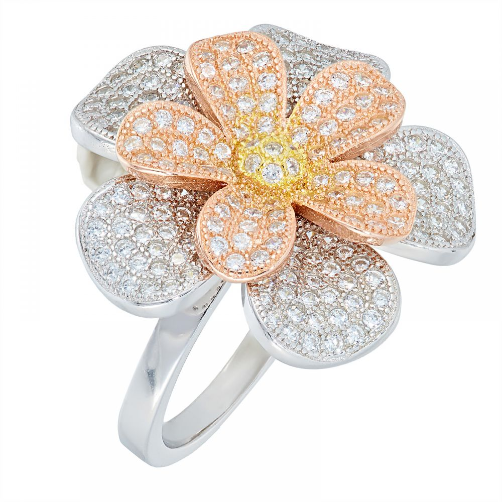 925 Silver Tricolor Double Flower Ring LRG1026