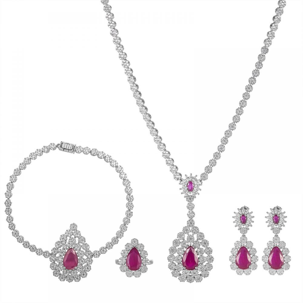 925 Silver Red Drop Flower Full Jewelry Set FS0004