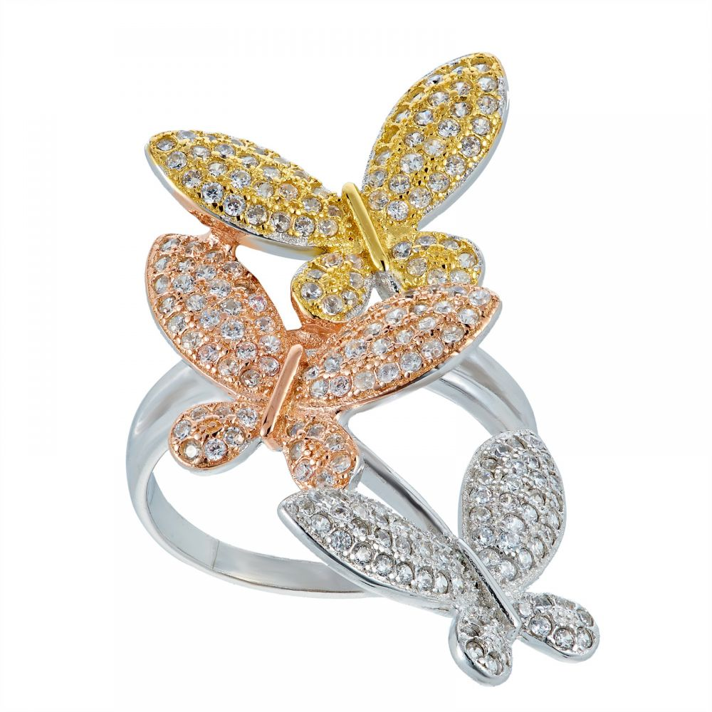 925 Silver Tricolor Butterfly Ring LRG1027