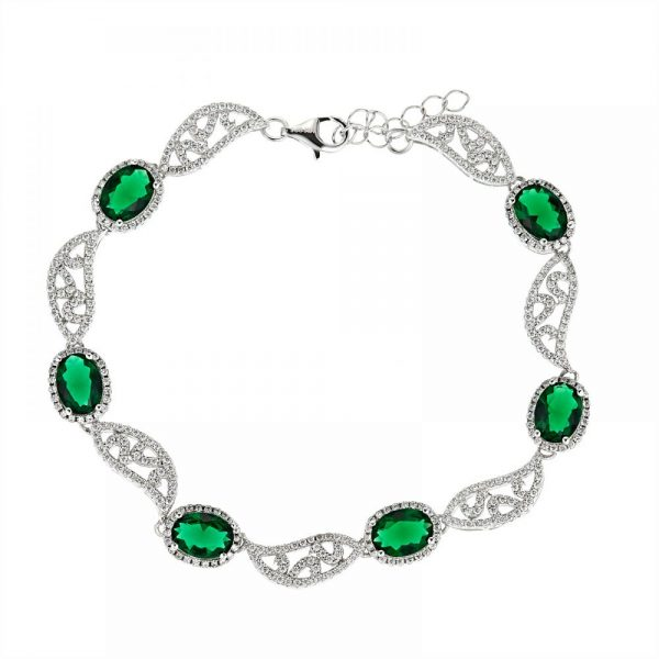 925 Silver Green Oval Crystal Full Jewelry Set FS0010